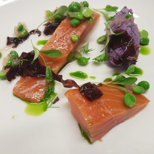 Smoked Salmon, Violetta potato salad, pickled seaweed, fresh pea and shallot dressing